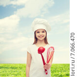 Купить «smiling girl in cook hat with ladle and whisk», фото № 7066470, снято 9 апреля 2014 г. (c) Syda Productions / Фотобанк Лори