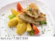 Купить «Жареная рыба с картофелем», фото № 7067934, снято 27 февраля 2015 г. (c) Алексей Маринченко / Фотобанк Лори