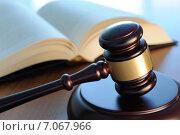 Купить «Судейский молоток и книга на столе», фото № 7067966, снято 27 февраля 2015 г. (c) Денис Ларкин / Фотобанк Лори