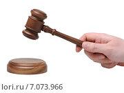 Купить «Рука с судейским молотком ударяет по подставке», фото № 7073966, снято 5 февраля 2015 г. (c) Денис Ларкин / Фотобанк Лори