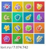 Купить «Микробы и бактерии, иконки», иллюстрация № 7074742 (c) Viachaslau Vaitsenok / Фотобанк Лори