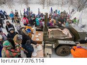 Купить «Полевая кухня на детских лыжных соревнованиях», фото № 7076114, снято 22 февраля 2015 г. (c) Алексей Маринченко / Фотобанк Лори