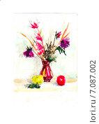 Цветы и яблоки. Акварель. Стоковая иллюстрация, иллюстратор Diana Borisova / Фотобанк Лори