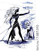 Девушка с ножом. Стоковая иллюстрация, иллюстратор Diana Borisova / Фотобанк Лори