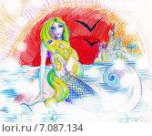 Русалочка. Детская иллюстрация. Стоковая иллюстрация, иллюстратор Diana Borisova / Фотобанк Лори