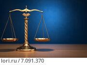 Concept of justice. Law scales on blue background. Стоковое фото, фотограф Maksym Yemelyanov / Фотобанк Лори
