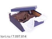 Купить «Новые ботинки в упаковке», фото № 7097814, снято 3 октября 2010 г. (c) Мария Разумная / Фотобанк Лори