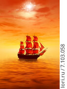 Купить «Восход солнца. Одинокий парусник», иллюстрация № 7103058 (c) ElenArt / Фотобанк Лори