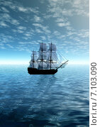 Купить «Парусное судно в море», иллюстрация № 7103090 (c) ElenArt / Фотобанк Лори