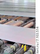Купить «Горячий стальной лист на конвейере», фото № 7103514, снято 11 января 2012 г. (c) Iordache Magdalena / Фотобанк Лори