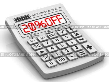 Скидка 20% (20% OFF). Надпись на электронном калькуляторе