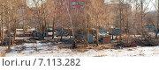 Купить «Заброшенные гаражи в Москве (панорама)», эксклюзивное фото № 7113282, снято 10 марта 2015 г. (c) Константин Косов / Фотобанк Лори