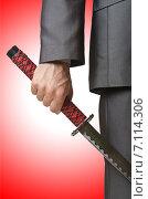 Купить «Businessman with sword on white», фото № 7114306, снято 8 мая 2012 г. (c) Elnur / Фотобанк Лори