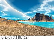 Купить «Чужая планета. Скалы и луна», иллюстрация № 7118462 (c) Parmenov Pavel / Фотобанк Лори