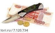 Купить «Деньги и нож», эксклюзивное фото № 7120734, снято 2 февраля 2010 г. (c) Юрий Морозов / Фотобанк Лори