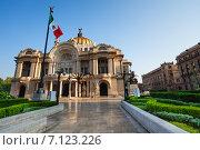 Купить «Дворец изящных искусств и Мексиканский флаг в центре столицы Мексики», фото № 7123226, снято 24 февраля 2014 г. (c) Сергей Новиков / Фотобанк Лори