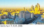Купить «Утро на Новом Арбате в Москве, таймлапс», видеоролик № 7131398, снято 16 марта 2015 г. (c) Серёга / Фотобанк Лори