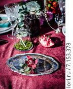 Купить «Свадебная сервировка стола в стиле Бохо», фото № 7153378, снято 20 ноября 2018 г. (c) Влад  Плотников / Фотобанк Лори