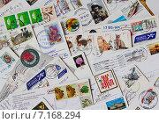 Купить «Посткросинг. Фон из почтовых открыток», эксклюзивное фото № 7168294, снято 24 марта 2015 г. (c) Илюхина Наталья / Фотобанк Лори