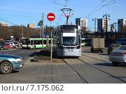 Купить «Городской трамвай. Новощукинская улица. Москва», эксклюзивное фото № 7175062, снято 13 марта 2015 г. (c) lana1501 / Фотобанк Лори