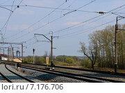 Железнодорожные пути в районе станции Боголюбово Владимирской области (2010 год). Стоковое фото, фотограф Дмитрий Девин / Фотобанк Лори