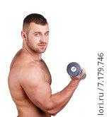 Купить «Muscular bodybuilder guy doing exercises with dumbbells isolated over white background», фото № 7179746, снято 22 марта 2019 г. (c) Александр Савченко / Фотобанк Лори