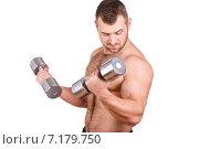 Купить «Muscular bodybuilder guy doing exercises with dumbbells isolated over white background», фото № 7179750, снято 22 марта 2019 г. (c) Александр Савченко / Фотобанк Лори