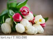 Букет весенних тюльпанов на столе. Стоковое фото, фотограф Peredniankina / Фотобанк Лори