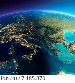 Купить «Вид на планету Земля. Граница дня и ночи. Часть Европы - Италия, Греция и Средиземное море», иллюстрация № 7185370 (c) Антон Балаж / Фотобанк Лори