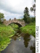 Купить «Старинный каменный мост через реку Славянку пасмурным днем. Павловск», фото № 7195402, снято 17 августа 2014 г. (c) Виктор Карасев / Фотобанк Лори