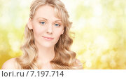 Купить «beautiful young woman face with long wavy hair», фото № 7197714, снято 3 апреля 2010 г. (c) Syda Productions / Фотобанк Лори