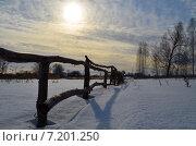 Купить «Деревенский забор из жердей», фото № 7201250, снято 11 марта 2015 г. (c) Андрей Голдобин / Фотобанк Лори