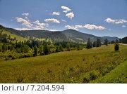 Купить «Вид на долину реки Сема, Алтай», фото № 7204594, снято 11 августа 2014 г. (c) Александр Карпенко / Фотобанк Лори