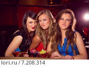 Купить «Pretty friends drinking cocktails together», фото № 7208314, снято 24 июня 2014 г. (c) Wavebreak Media / Фотобанк Лори