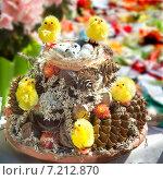 Купить «Пасхальная композиция с цыплятами и яйцами», фото № 7212870, снято 19 апреля 2014 г. (c) Vladimirs Koskins / Фотобанк Лори