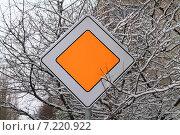 """Купить «Дорожный знак """"Главная дорога"""" на фоне ветвей в снегу», эксклюзивное фото № 7220922, снято 21 января 2015 г. (c) Михаил Рудницкий / Фотобанк Лори"""