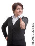 Деловая женщина показывает большой палец вверх. Стоковое фото, фотограф Александр Лычагин / Фотобанк Лори
