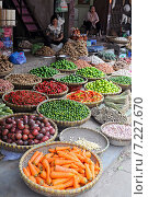 Купить «Vietnam, Hanoi, Fresh fruits and vegetables street markets», фото № 7227670, снято 10 июля 2020 г. (c) BE&W Photo / Фотобанк Лори