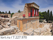 Купить «Partial view of the Minoan Palace of Knossos with characteristic columns and a fresco of a bull behind. Crete, Greece», фото № 7227970, снято 17 июля 2018 г. (c) BE&W Photo / Фотобанк Лори