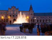 Купить «Touristic horse carriages at Plaza de Espana in evening», фото № 7228818, снято 19 ноября 2014 г. (c) Яков Филимонов / Фотобанк Лори