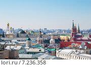 Купить «Московские крыши в солнечный день», фото № 7236358, снято 4 апреля 2015 г. (c) Наталья Волкова / Фотобанк Лори