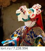Монах исполняет священный танец масок Чам (Cham dance) на буддийском фестивале в монастыре Курча (Карша) в Гималаях, в Занскаре, северная Индия (2012 год). Стоковое фото, фотограф Олег Иванов / Фотобанк Лори