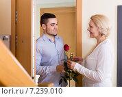 Купить «man and woman standing at doorway», фото № 7239010, снято 26 июня 2019 г. (c) Яков Филимонов / Фотобанк Лори