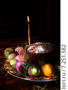 Пасхальный кулич с расписанными яйцами и свечой утром, фото № 7251582, снято 12 апреля 2015 г. (c) Эдуард Паравян / Фотобанк Лори