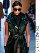 NEW YORK, NY - FEBRUARY 15: Model Imaan Hammam walk the runway at the Derek Lam Fashion Show during MBFW Fall 2015 at Pace Gallery on February 15, 2015 in NYC. Редакционное фото, фотограф Anton Oparin / Фотобанк Лори