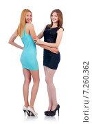 Купить «Female models in mini dresses isolated on white», фото № 7260362, снято 3 июля 2013 г. (c) Elnur / Фотобанк Лори