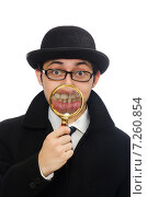 Sherlock Holmes with magnifying glass isolated on white. Стоковое фото, фотограф Elnur / Фотобанк Лори