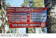 Купить «Табличка с правилами поведения в лесу, расположенная между стволов деревьев», эксклюзивное фото № 7272986, снято 12 апреля 2015 г. (c) Александр Замараев / Фотобанк Лори