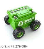 Купить «Accumilator or car battery on the wheel. Green energy concept.», иллюстрация № 7279086 (c) Maksym Yemelyanov / Фотобанк Лори