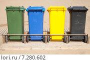 Купить «Контейнеры для раздельного сбора мусора», фото № 7280602, снято 20 августа 2014 г. (c) EugeneSergeev / Фотобанк Лори